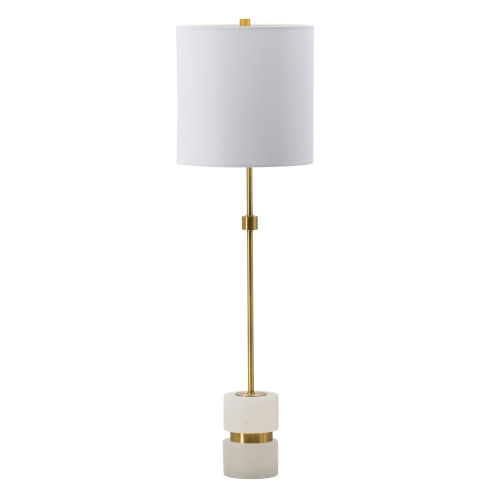 Brass and White One-Light Buffet Lamp