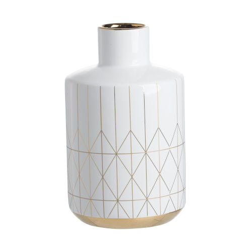 Gloss White and Gold Vase
