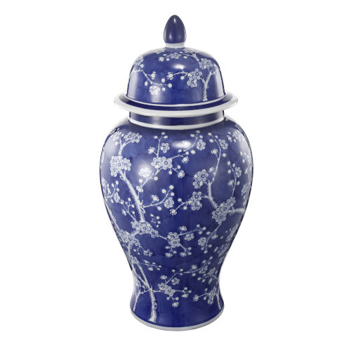 Cherry Blossoms Ginger Blue and White Jar with Lid