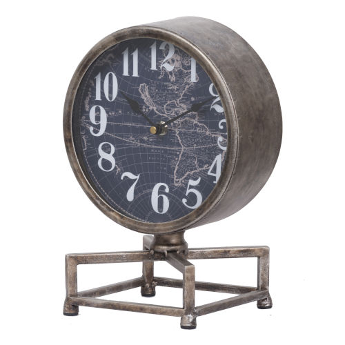 Silver, Antique White And Dark Blue Metro Table Clock