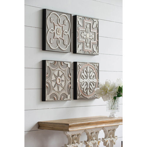 Handcarved Wall Art Panels ,Set of 4