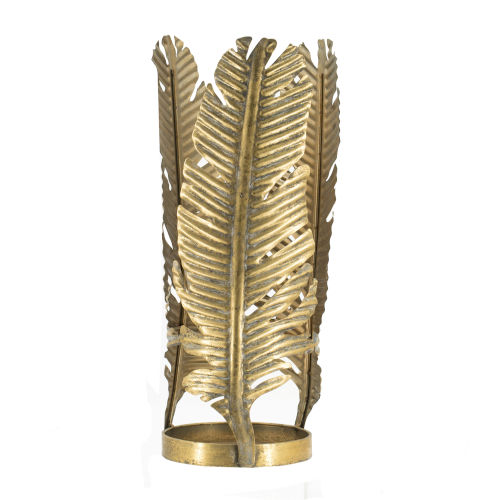 Antique Gold Natural Feather Metal Cylinder Candle Holder
