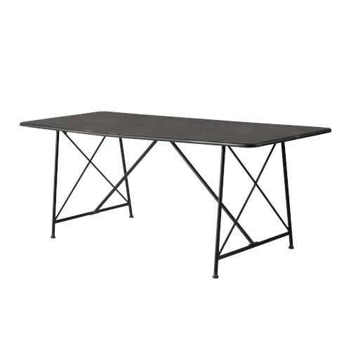 Antique Gray X-Leg Dining Table