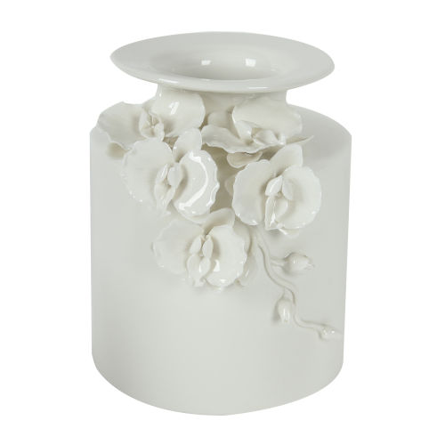 Seaford Gloss White 9-Inch Floral Pot Vase