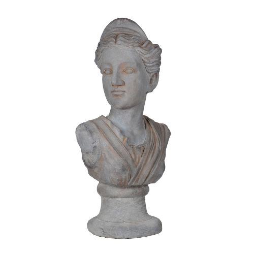 Gray Greek Goddess Bust Statue