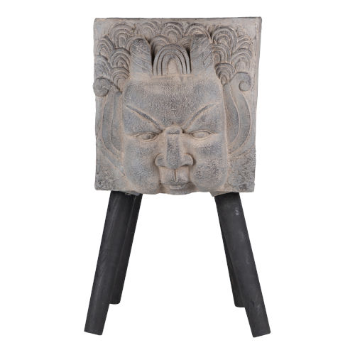 Gray and Black Greek God Blowing Statue Outdoor Planter