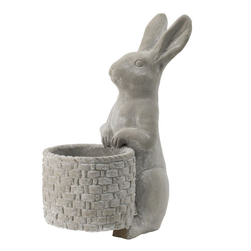 Rabbit with Basket Weave Accent Outdoor Planter