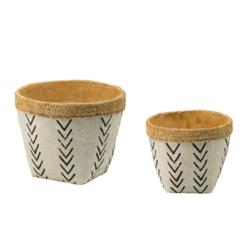 Natural and Black Round Outdoor Planter Basket with V-Pattern Print, Set of 2