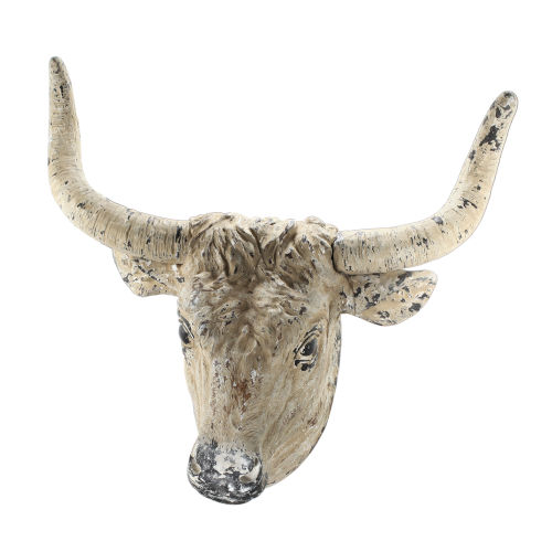 Antique White And Black Ox Head Wall Décor