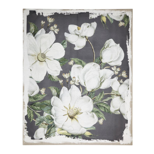 Magnolia Blooms White And Gray Wall Art