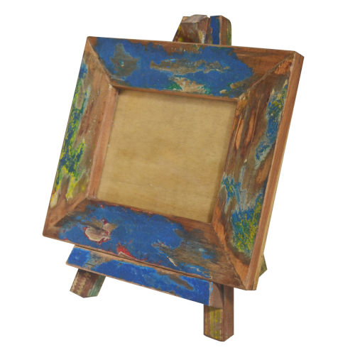 Blue And Brown Repurposed Wood Photo Frame With Easel Stand