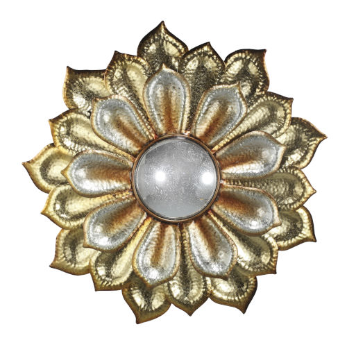 Gold And Silver Flower With Acrylic Wall Mirror