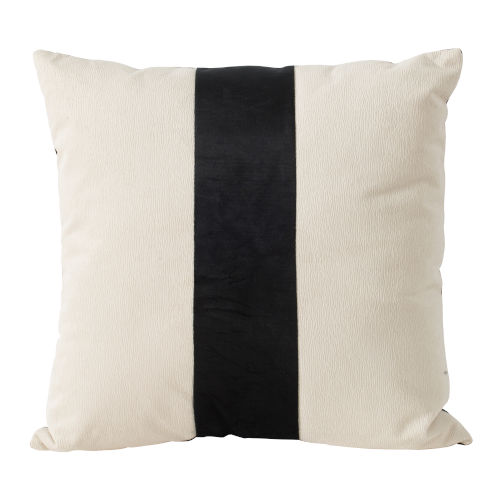 White and Black Bold Center Stripe Velvet Accent Pillow