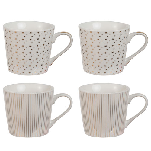 White and Gold Mugs, Set of Four