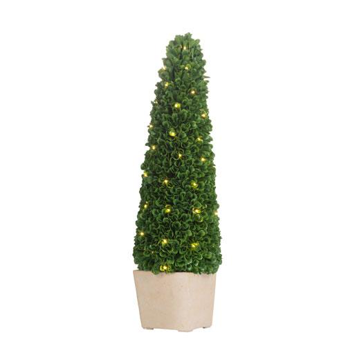 Pre-Light Faux Boxwood Cone Topiary