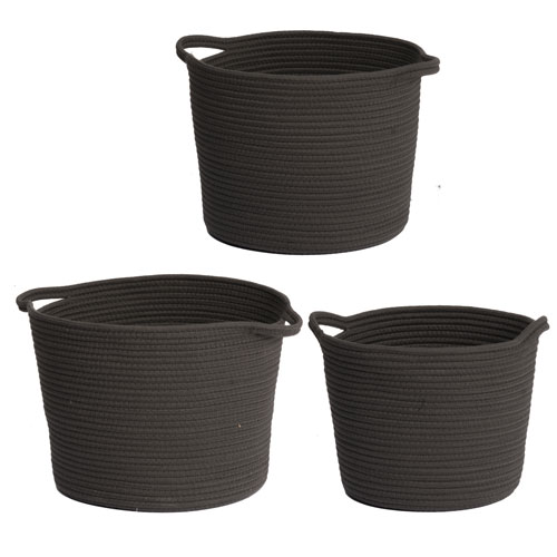 A U0026 B Home Lorne Charcoal Storage Baskets, Set Of Three
