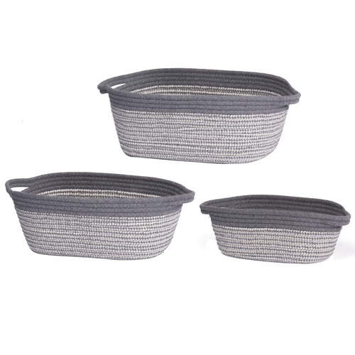 Lorne Gray and White Short Baskets, Set of Three