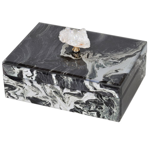 Large Black Marbled Jewelry Case