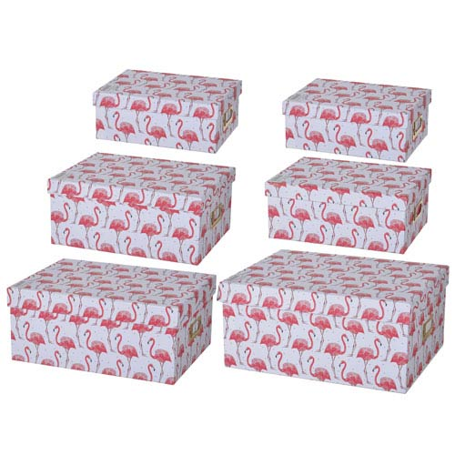 A & B Home Albany Storage Boxes with Flamingo Motif, Set of Six