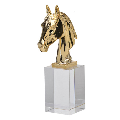 A & B Home Clear and Gold Horse Statue