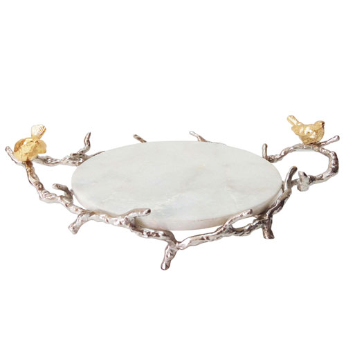 Silver and Gold Branch Tray