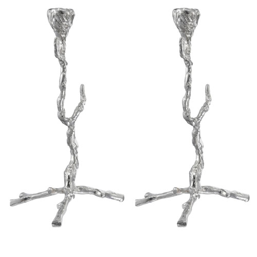 Silver Branch Candle Holder, Set of Two