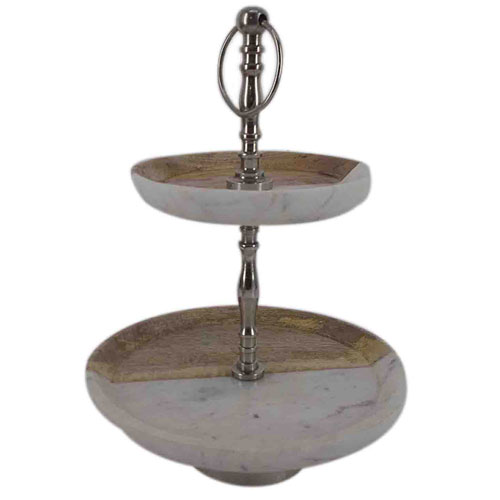 Brown and Twin Two-Tier Cake Stand