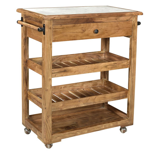 Brown and White Kitchen Cart