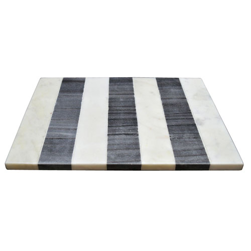 Black and White Rectangular Marble Board