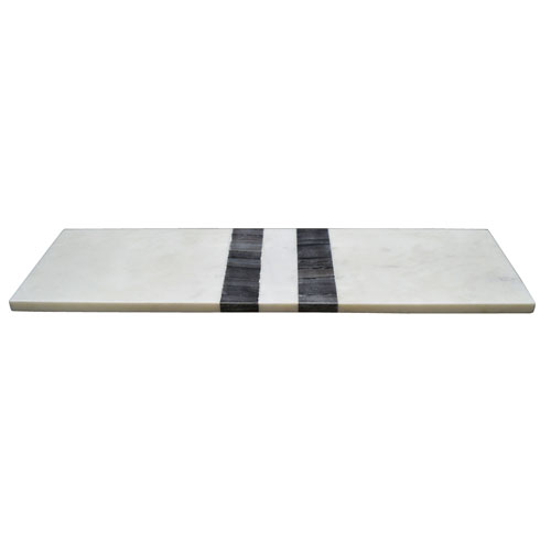 A & B Home Black and White Rectangular Marble Board