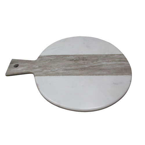 Polished White and Beige Round Marble Board