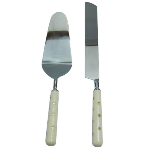 Silver and Ivory Two-Piece Cake Serving Set