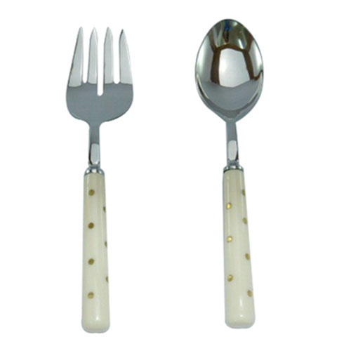 A & B Home Silver and Ivory Two-Piece Salad Server Set