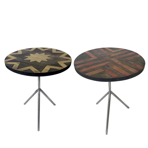Polished Wood and Stainless Steel Side Tables, Set of Two