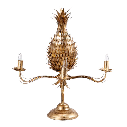 Gold Pineapple Three-Light Table Lamp
