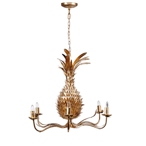 Gold Pineapple Six-Light Chandelier