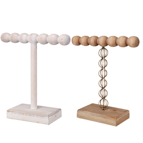 A & B Home Brown and White Jewlery Stands, Set of Two