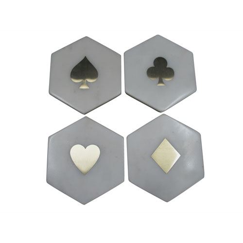 White and Gold Suits Coasters, Set of Four
