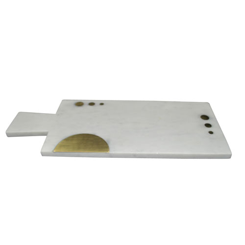 White and Gold Rectangular Marble Board