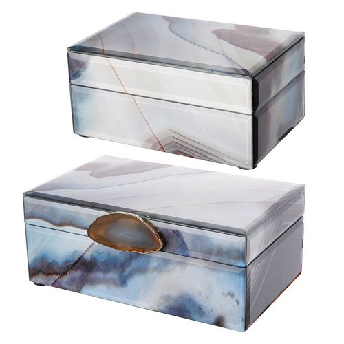 White and Blue Jewelry Box, Set of Two