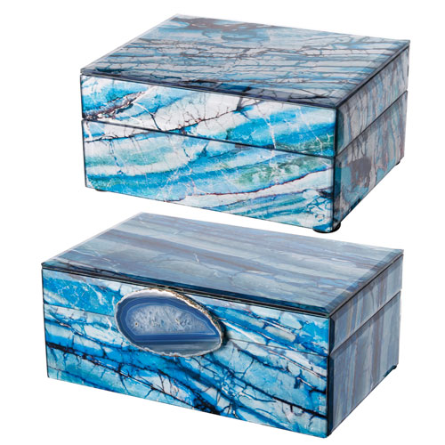 Blue and White Jewelry Box, Set of Two