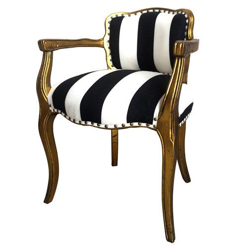 A B Home Black And White Stripe Gold Arm Chair 43279 Bellacor