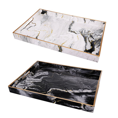Black and White Marble Serving Tray, Set of Two