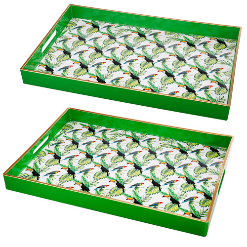 A & B Home Green and White Serving Tray, Set of Two
