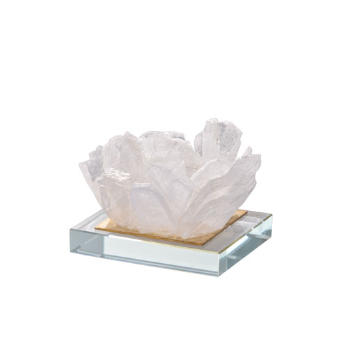 A & B Home Selenite Candle Holder on Glass Plate