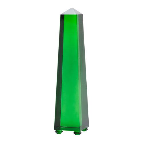 A & B Home Alighieri Solid Green Obelisk Sculpture