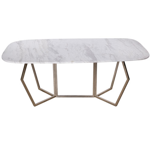 A & B Home White Marble Dining Table