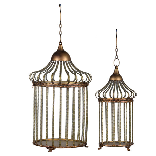 Brown and Gold Hanging Lanterns, Set of Two