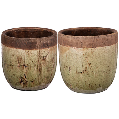 A & B Home Brown and Grey Planters, Set of Two