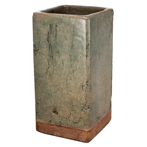 A B Home Green And Brown Ceramic Square Vase D1530 Bellacor